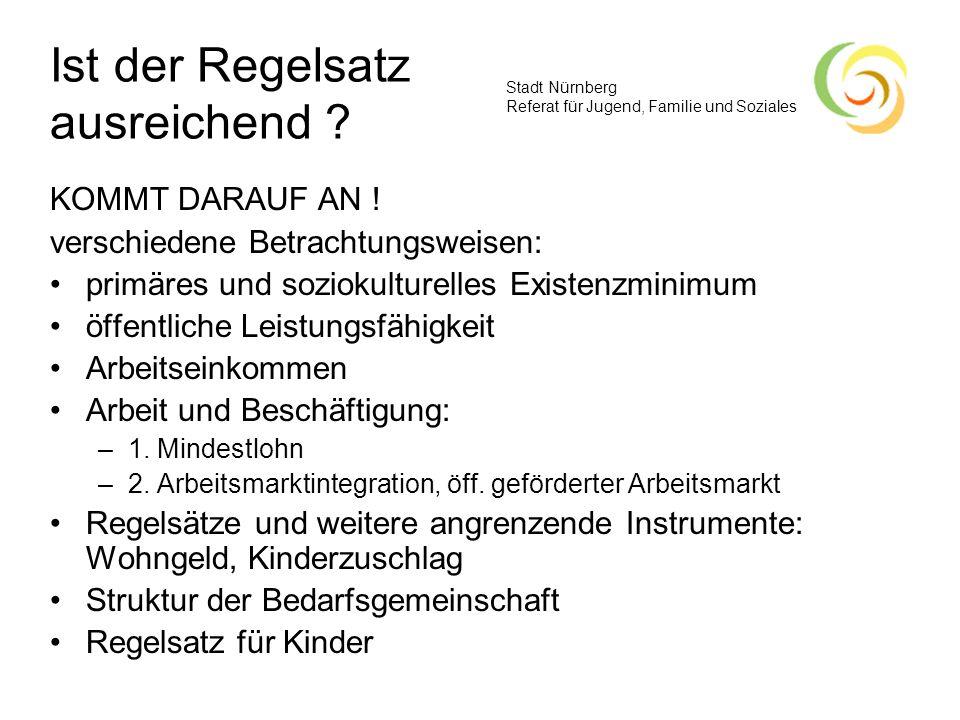 Stadt Nürnberg Referat für Jugend, Familie und Soziales Ist der Regelsatz ausreichend ? KOMMT DARAUF AN ! verschiedene Betrachtungsweisen: primäres un