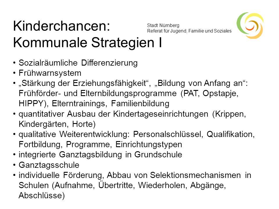 Stadt Nürnberg Referat für Jugend, Familie und Soziales Kinderchancen: Kommunale Strategien I Sozialräumliche Differenzierung Frühwarnsystem Stärkung