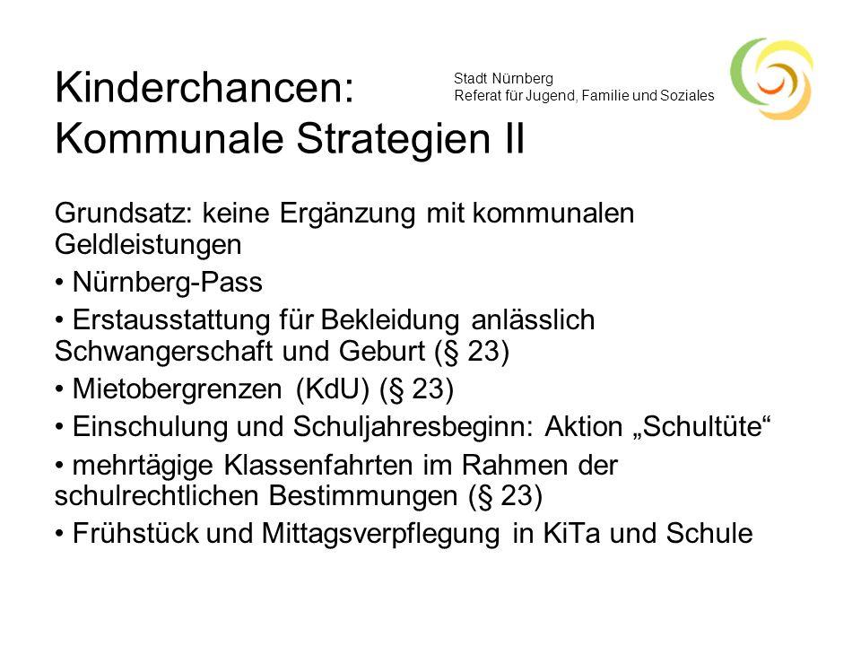 Stadt Nürnberg Referat für Jugend, Familie und Soziales Grundsatz: keine Ergänzung mit kommunalen Geldleistungen Nürnberg-Pass Erstausstattung für Bek