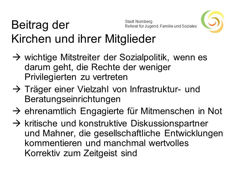 Stadt Nürnberg Referat für Jugend, Familie und Soziales Beitrag der Kirchen und ihrer Mitglieder wichtige Mitstreiter der Sozialpolitik, wenn es darum