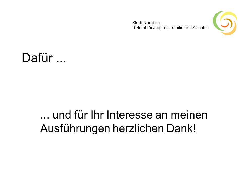 Stadt Nürnberg Referat für Jugend, Familie und Soziales Dafür...... und für Ihr Interesse an meinen Ausführungen herzlichen Dank!