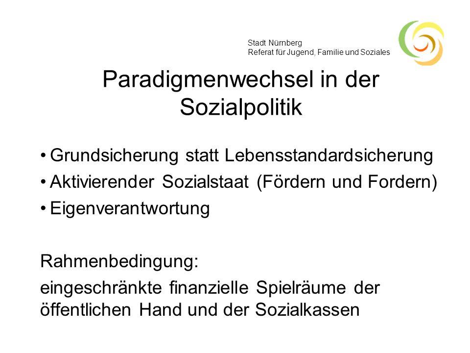 Stadt Nürnberg Referat für Jugend, Familie und Soziales Alte und neue Welt Datengrundlage des kommunalen Armutsberichts zeigt die alte Welt des BSHG (Hilfe zum Lebensunterhalt) Neue Welt: Zusammenlegung von Arbeitslosen- und Sozialhilfe (SGB II und XII)