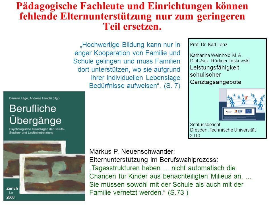1.Eltern 2.Altersgenossen 3.Lehrkräfte 4.Berufsberater Hoose & Vorholt 1996; Raabe & Rademacker 1999; Schweikert 1999; Beinke 2002; Prager & Wieland 2005; Arbeitskreis Einstieg 2004; Puhlmann 2005; Görtz-Brose & Hüser 2006; Neuenschwander 2007; Kuhnke & Reißig 2007; Reißig 2009; Walter 2010 Einflüsse auf die Berufsorientierung