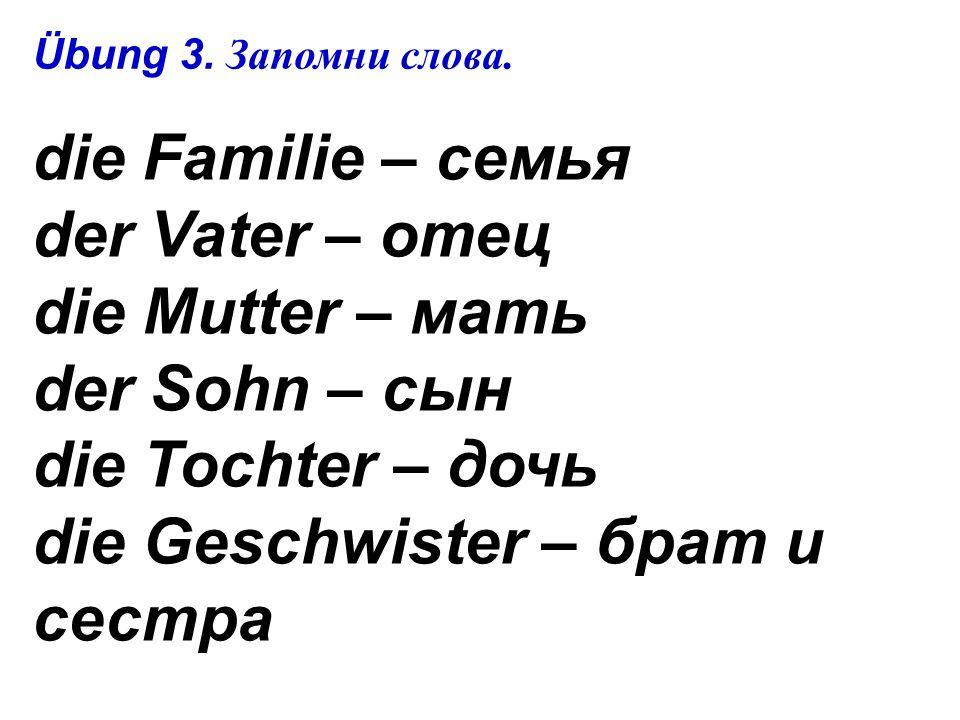 die Familie – семья der Vater – отец die Mutter – мать der Sohn – сын die Tochter – дочь die Geschwister – брат и сестра Übung 3.