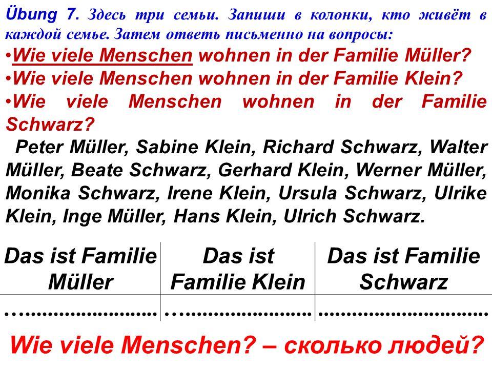 Übung 6. Прочитайте и переведите. Peters Familie Peter Klamm wohnt in Berlin. Peters Familie ist groß. Peter hat eine Mutter und einen Vater, eine Gro