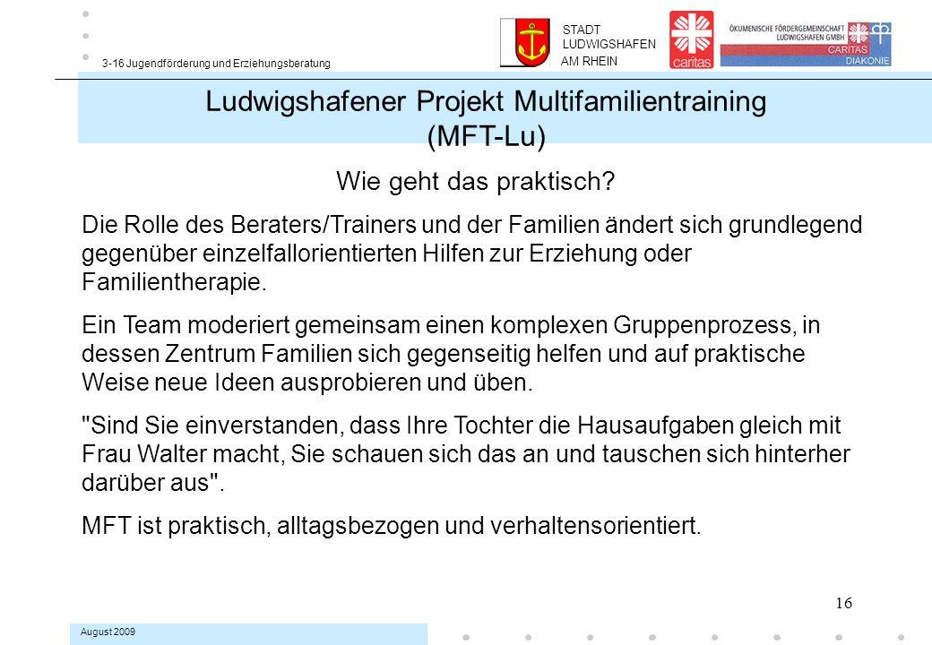 16 3-16 Jugendförderung und Erziehungsberatung August 2009 Ludwigshafener Projekt Multifamilientraining (MFT-Lu) Wie geht das praktisch.