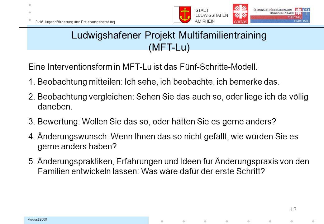 17 3-16 Jugendförderung und Erziehungsberatung August 2009 Eine Interventionsform in MFT-Lu ist das Fünf-Schritte-Modell.