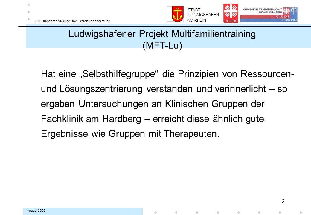 14 3-16 Jugendförderung und Erziehungsberatung August 2009 Rahmenbedingungen Die MFT-Gruppen starten mit einer klaren Struktur als geschlossene Gruppe.