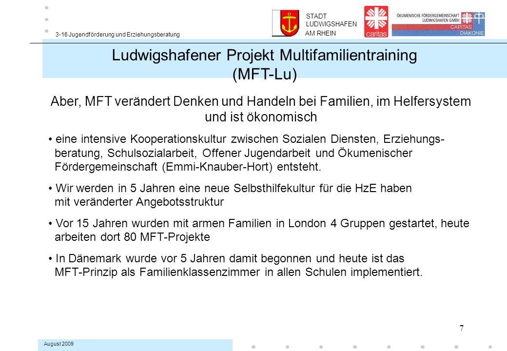 8 3-16 Jugendförderung und Erziehungsberatung August 2009 Ludwigshafener Projekt Multifamilientraining (MFT-Lu) Wollen Familien das überhaupt.