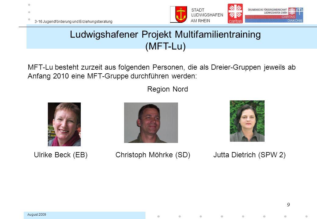 9 3-16 Jugendförderung und Erziehungsberatung August 2009 MFT-Lu besteht zurzeit aus folgenden Personen, die als Dreier-Gruppen jeweils ab Anfang 2010 eine MFT-Gruppe durchführen werden: Region Nord Ulrike Beck (EB) Christoph Möhrke (SD) Jutta Dietrich (SPW 2) Ludwigshafener Projekt Multifamilientraining (MFT-Lu) AM RHEIN STADT LUDWIGSHAFEN