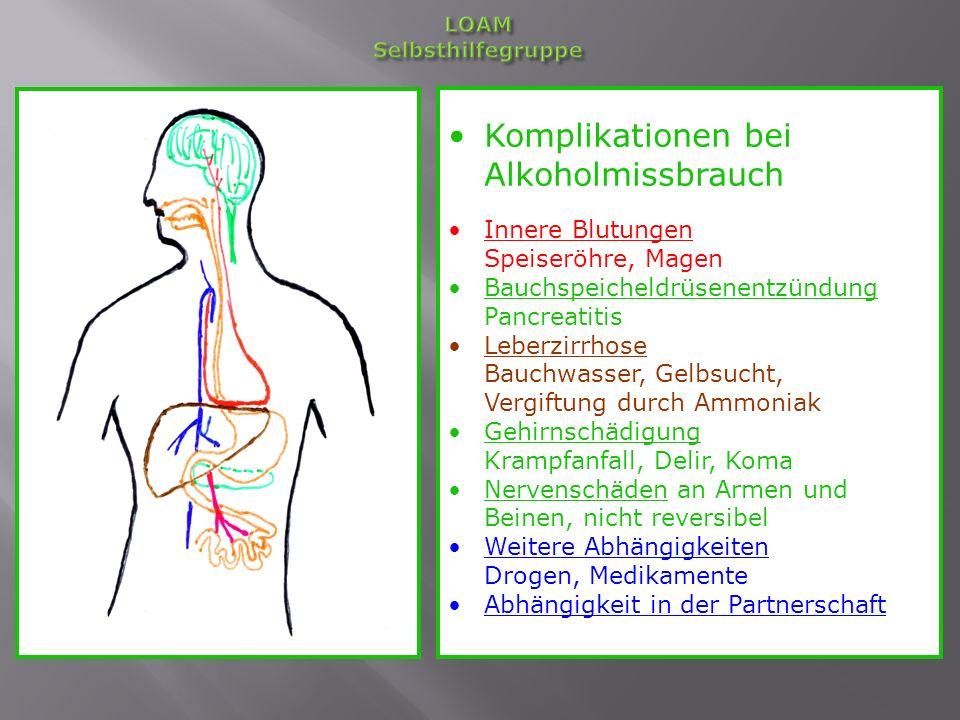 Körperliche Schäden bei Alkoholmissbrauch Gehirn: Nachlassen von Merk- und Konzentrationsfähigkeit Emotionale Verarmung - bei Leberversagen Koma Speiseröhre, Magen: Lebensgefährliche Blutungen - Krebsgefahr erhöht Bauchspeicheldrüse: Entzündung- sehr starke Schmerzen - Lebensgefahr - Zuckerkrankheit Leber: Zirrhose, Leberversagen Nerven der Beine: Bewegungs- und Empfindungsstörungen