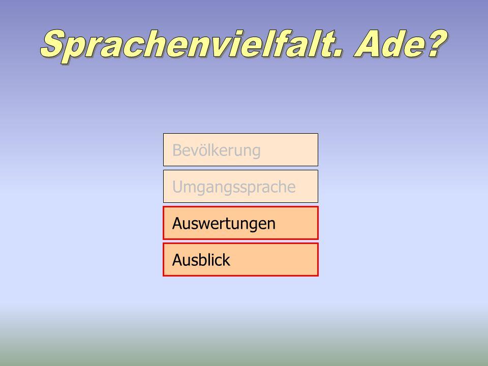 Bevölkerung Umgangssprache Auswertungen Ausblick