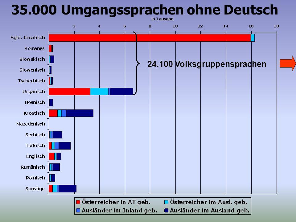 35.000 Umgangssprachen ohne Deutsch 24.100 Volksgruppensprachen
