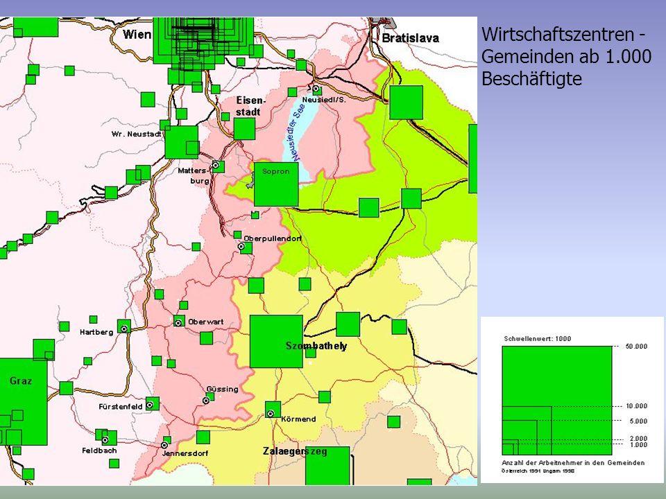 Wirtschaftszentren - Gemeinden ab 1.000 Beschäftigte