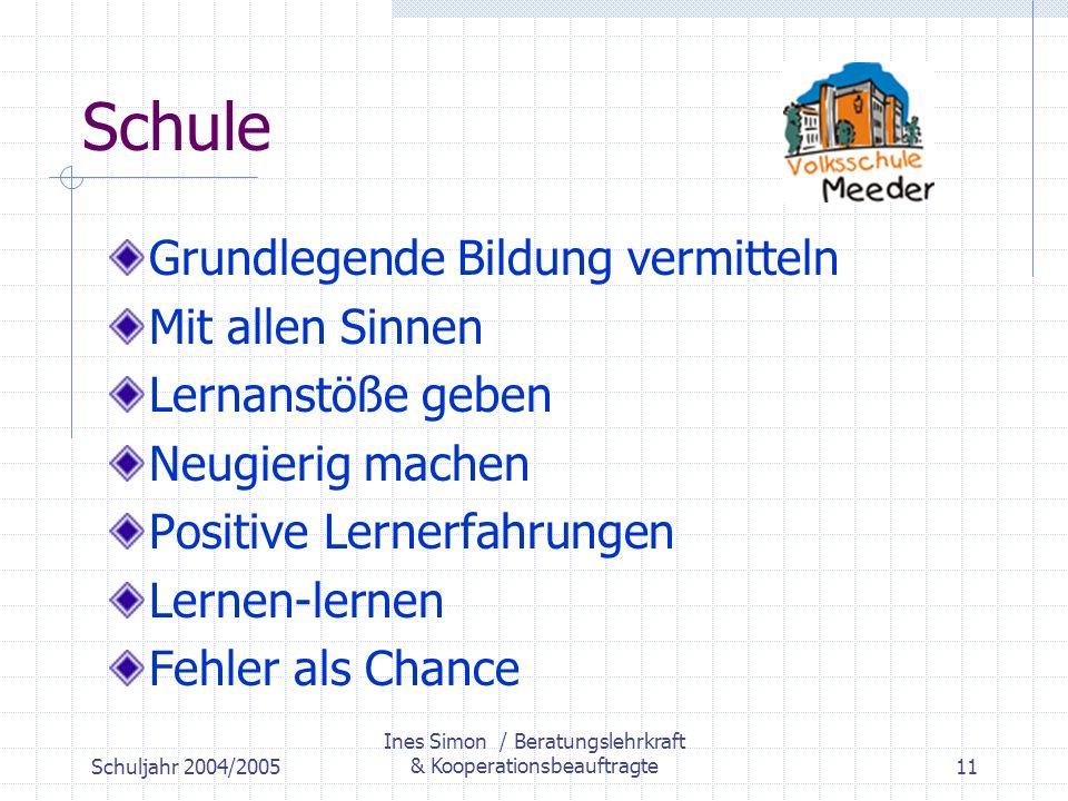 Schuljahr 2004/2005 Ines Simon / Beratungslehrkraft & Kooperationsbeauftragte11 Schule Grundlegende Bildung vermitteln Mit allen Sinnen Lernanstöße geben Neugierig machen Positive Lernerfahrungen Lernen-lernen Fehler als Chance