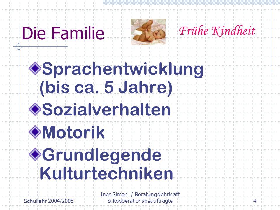 Schuljahr 2004/2005 Ines Simon / Beratungslehrkraft & Kooperationsbeauftragte4 Die Familie Sprachentwicklung (bis ca.