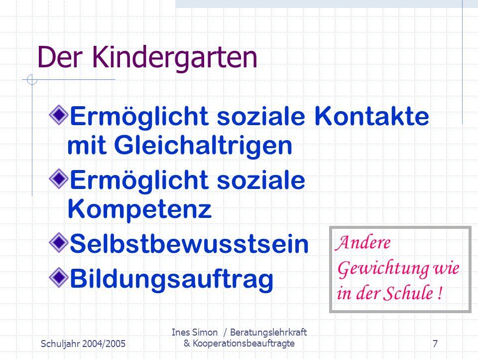 Schuljahr 2004/2005 Ines Simon / Beratungslehrkraft & Kooperationsbeauftragte7 Der Kindergarten Ermöglicht soziale Kontakte mit Gleichaltrigen Ermöglicht soziale Kompetenz Selbstbewusstsein Bildungsauftrag Andere Gewichtung wie in der Schule !