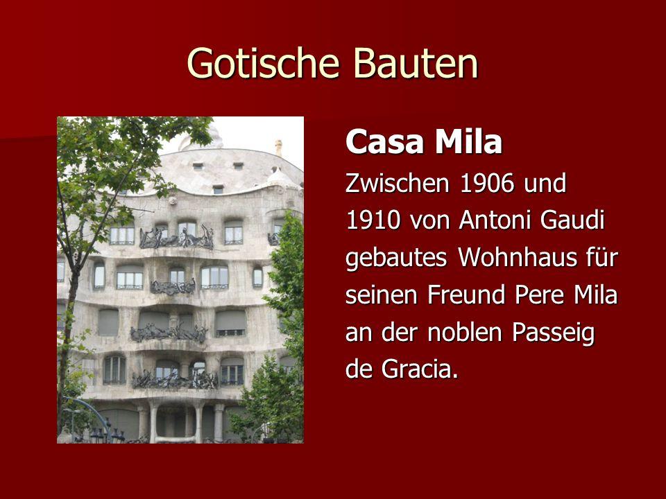 Gotische Bauten Casa Mila Zwischen 1906 und 1910 von Antoni Gaudi gebautes Wohnhaus für seinen Freund Pere Mila an der noblen Passeig de Gracia.