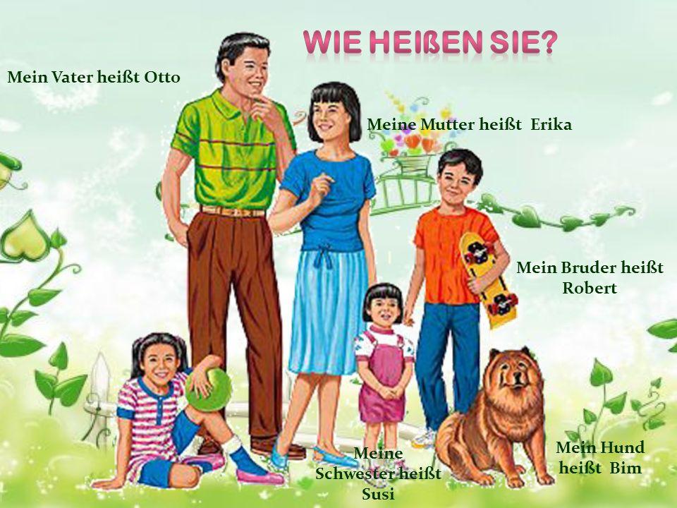 Mein Vater ist vierzig Jahre alt Meine Mutter ist auch vierzig Jahre alt Mein Bruder ist dreizehn Jahre alt Meine Schwester ist drei Jahre alt Mein Hund ist sechs Jahre alt Ich bin zehn Jahre alt