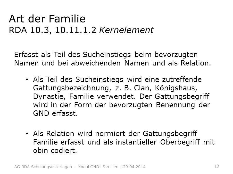 Art der Familie RDA 10.3, 10.11.1.2 Kernelement Erfasst als Teil des Sucheinstiegs beim bevorzugten Namen und bei abweichenden Namen und als Relation.