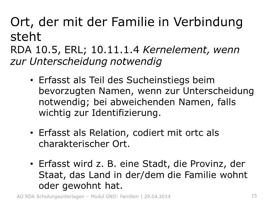 Ort, der mit der Familie in Verbindung steht RDA 10.5, ERL; 10.11.1.4 Kernelement, wenn zur Unterscheidung notwendig Erfasst als Teil des Sucheinstieg