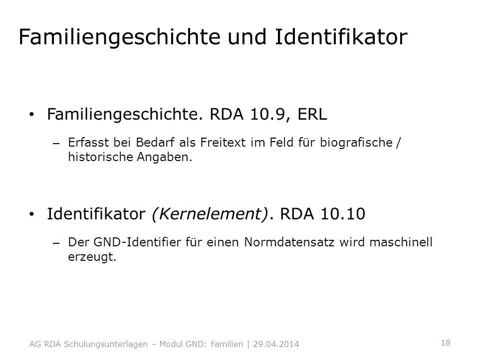 Familiengeschichte und Identifikator Familiengeschichte. RDA 10.9, ERL – Erfasst bei Bedarf als Freitext im Feld für biografische / historische Angabe