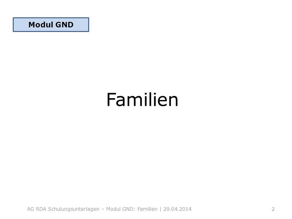 Familien AG RDA Schulungsunterlagen – Modul GND: Familien | 29.04.20142 Modul GND
