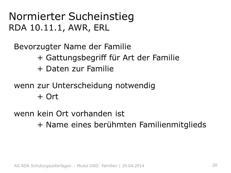 Normierter Sucheinstieg RDA 10.11.1, AWR, ERL Bevorzugter Name der Familie + Gattungsbegriff für Art der Familie + Daten zur Familie wenn zur Untersch