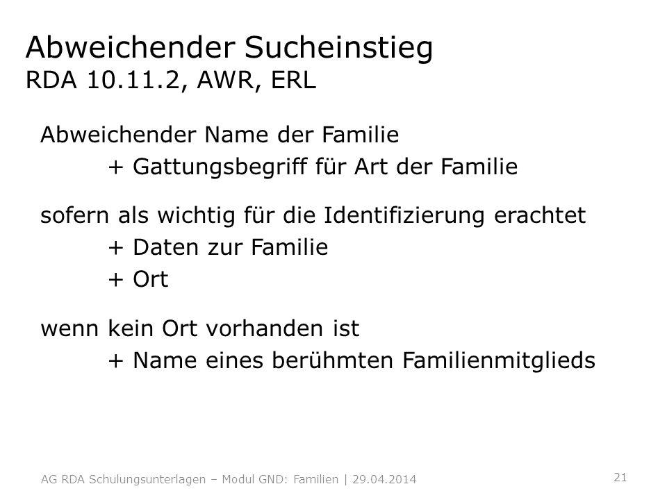 Abweichender Sucheinstieg RDA 10.11.2, AWR, ERL Abweichender Name der Familie + Gattungsbegriff für Art der Familie sofern als wichtig für die Identif