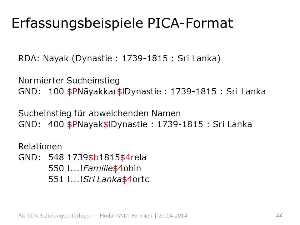 Erfassungsbeispiele PICA-Format RDA: Nayak (Dynastie : 1739-1815 : Sri Lanka) Normierter Sucheinstieg GND:100 $PNāyakkar$lDynastie : 1739-1815 : Sri L