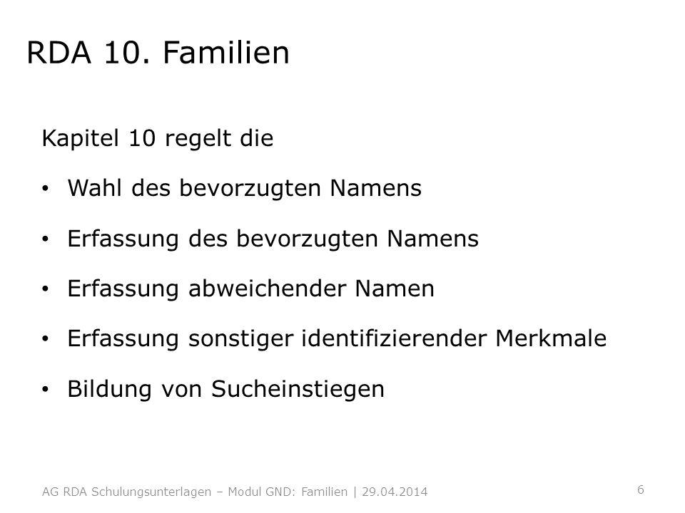 RDA 10. Familien Kapitel 10 regelt die Wahl des bevorzugten Namens Erfassung des bevorzugten Namens Erfassung abweichender Namen Erfassung sonstiger i