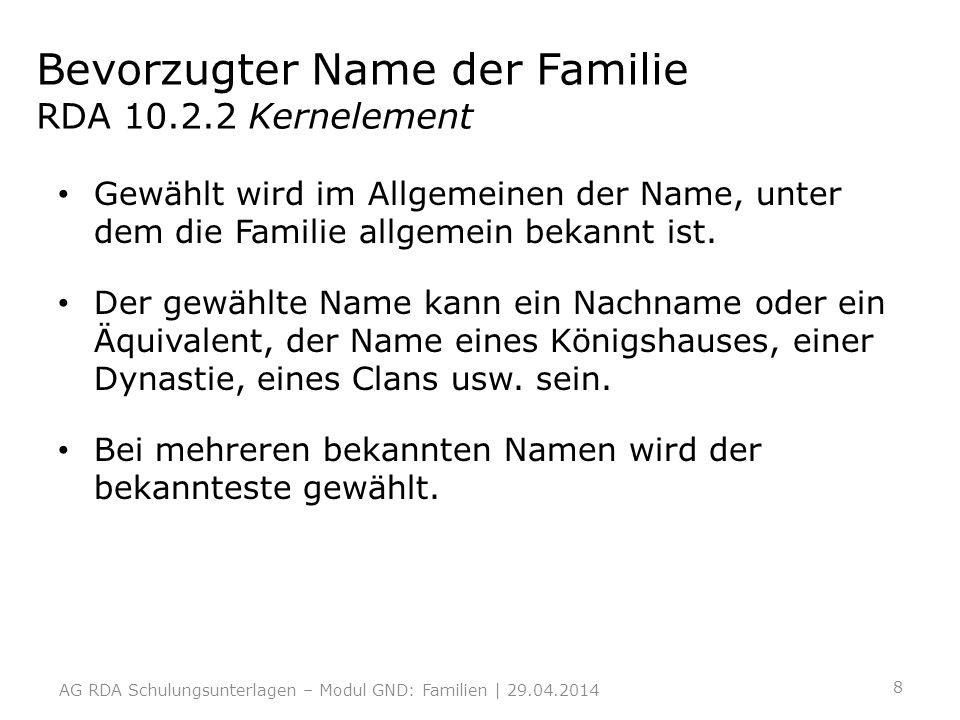 Bevorzugter Name der Familie RDA 10.2.2 Kernelement Gewählt wird im Allgemeinen der Name, unter dem die Familie allgemein bekannt ist. Der gewählte Na