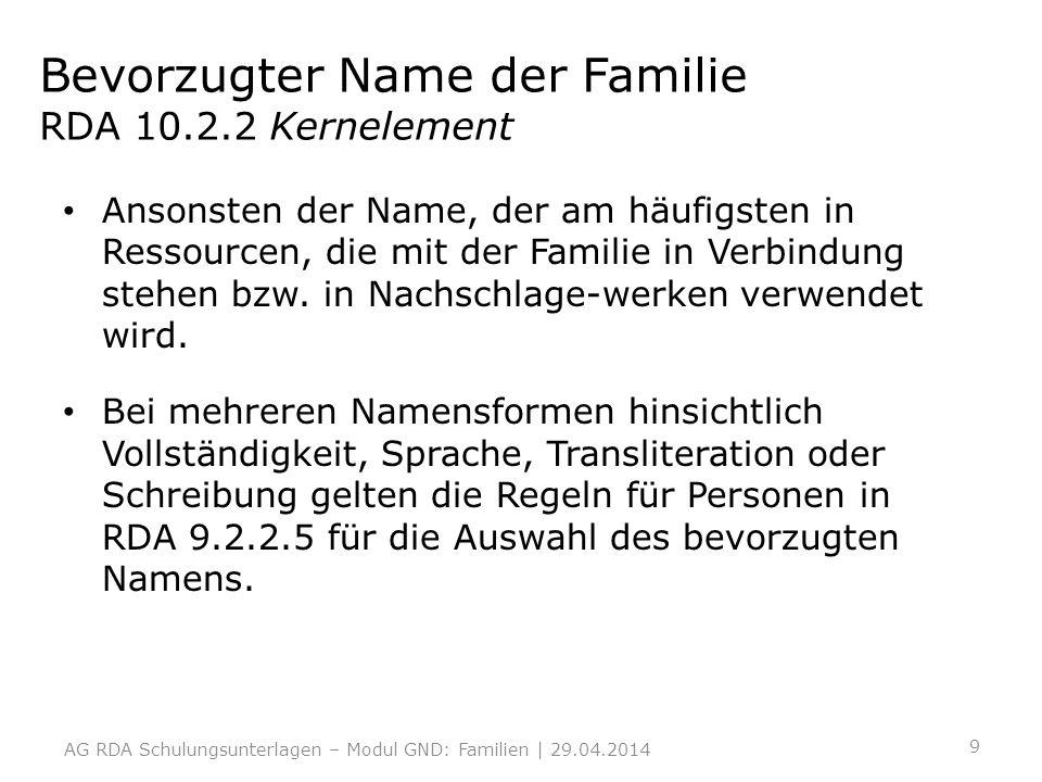 Bevorzugter Name der Familie RDA 10.2.2 Kernelement Ansonsten der Name, der am häufigsten in Ressourcen, die mit der Familie in Verbindung stehen bzw.
