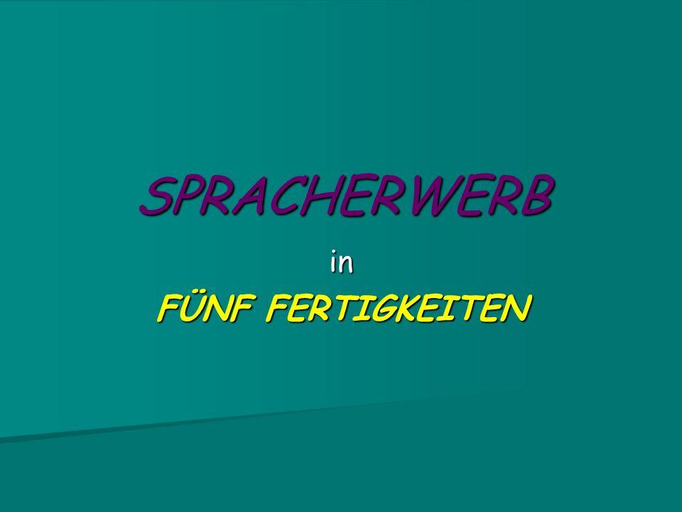 SPRACHERWERB in FÜNF FERTIGKEITEN