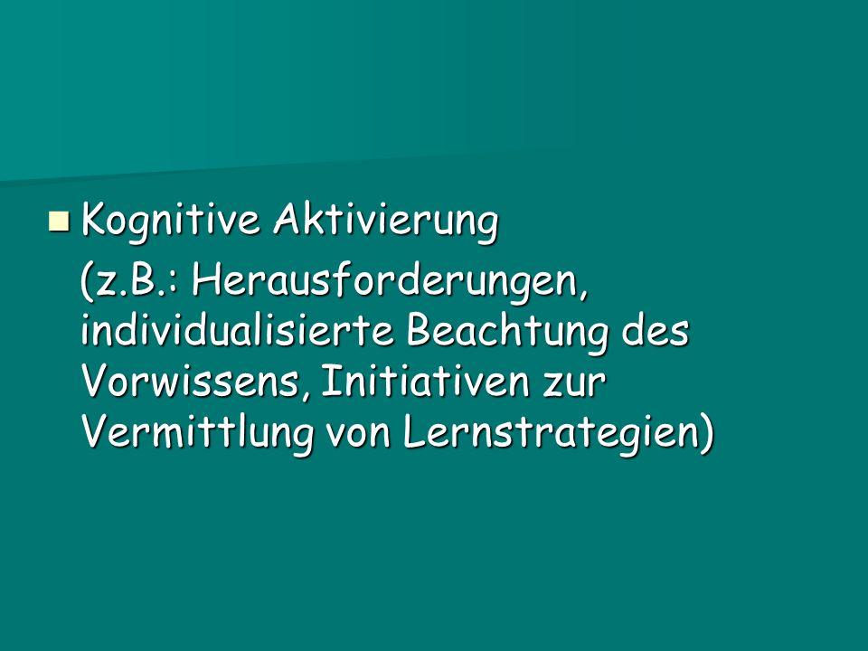 Kognitive Aktivierung Kognitive Aktivierung (z.B.: Herausforderungen, individualisierte Beachtung des Vorwissens, Initiativen zur Vermittlung von Lernstrategien)