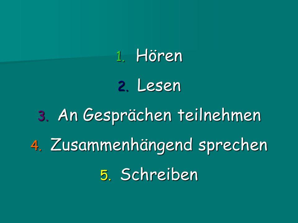 1. Hören 2. Lesen 3. An Gesprächen teilnehmen 4. Zusammenhängend sprechen 5. Schreiben