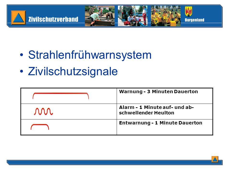 Zivilschutzsignale Warnung - 3 Minuten Dauerton Alarm - 1 Minute auf- und ab- schwellender Heulton Entwarnung - 1 Minute Dauerton