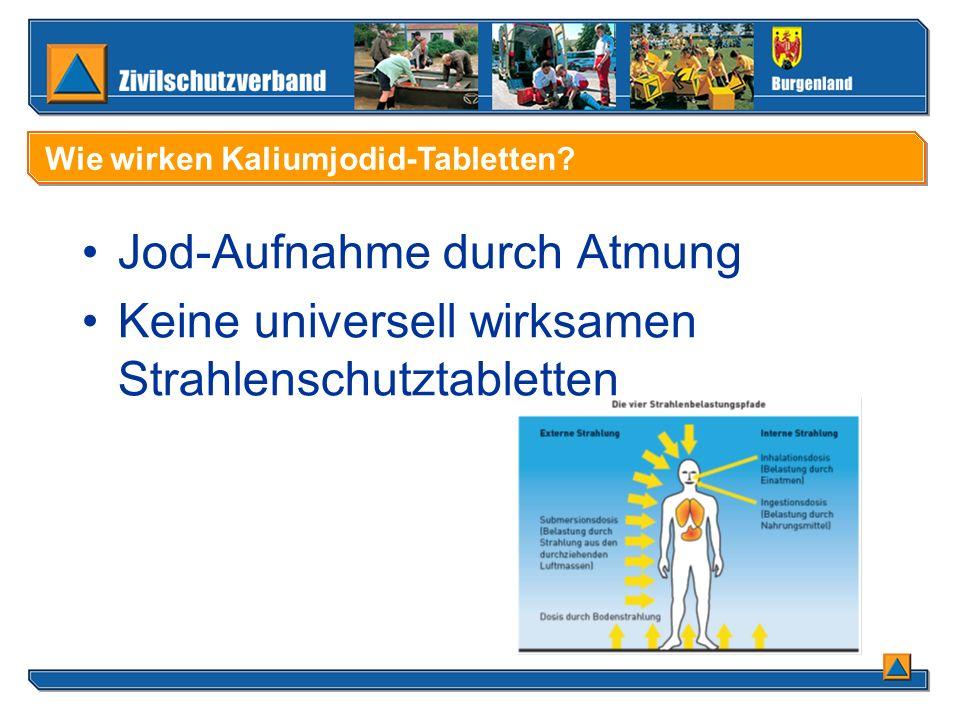 Jod-Aufnahme durch Atmung Keine universell wirksamen Strahlenschutztabletten Wie wirken Kaliumjodid-Tabletten?