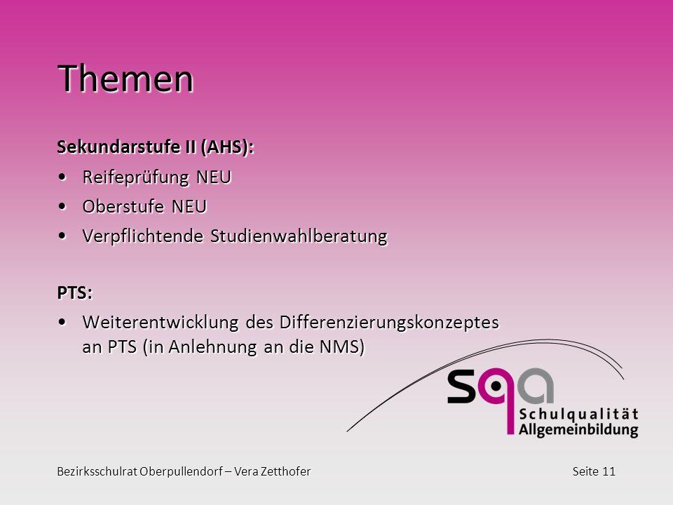 Bezirksschulrat Oberpullendorf – Vera ZetthoferSeite 11 Themen Sekundarstufe II (AHS): Reifeprüfung NEUReifeprüfung NEU Oberstufe NEUOberstufe NEU Ver