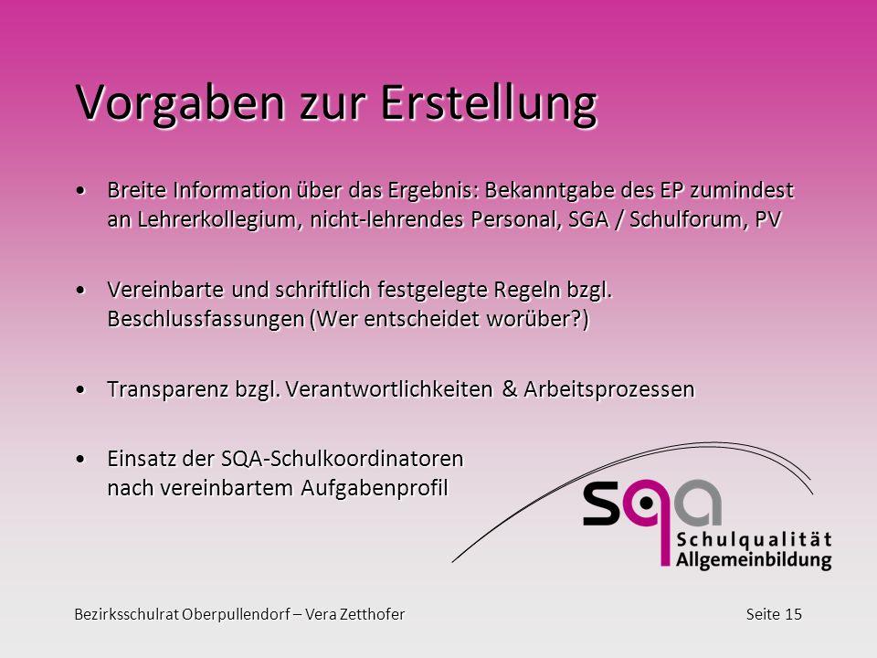 Bezirksschulrat Oberpullendorf – Vera ZetthoferSeite 15 Vorgaben zur Erstellung Breite Information über das Ergebnis: Bekanntgabe des EP zumindest an