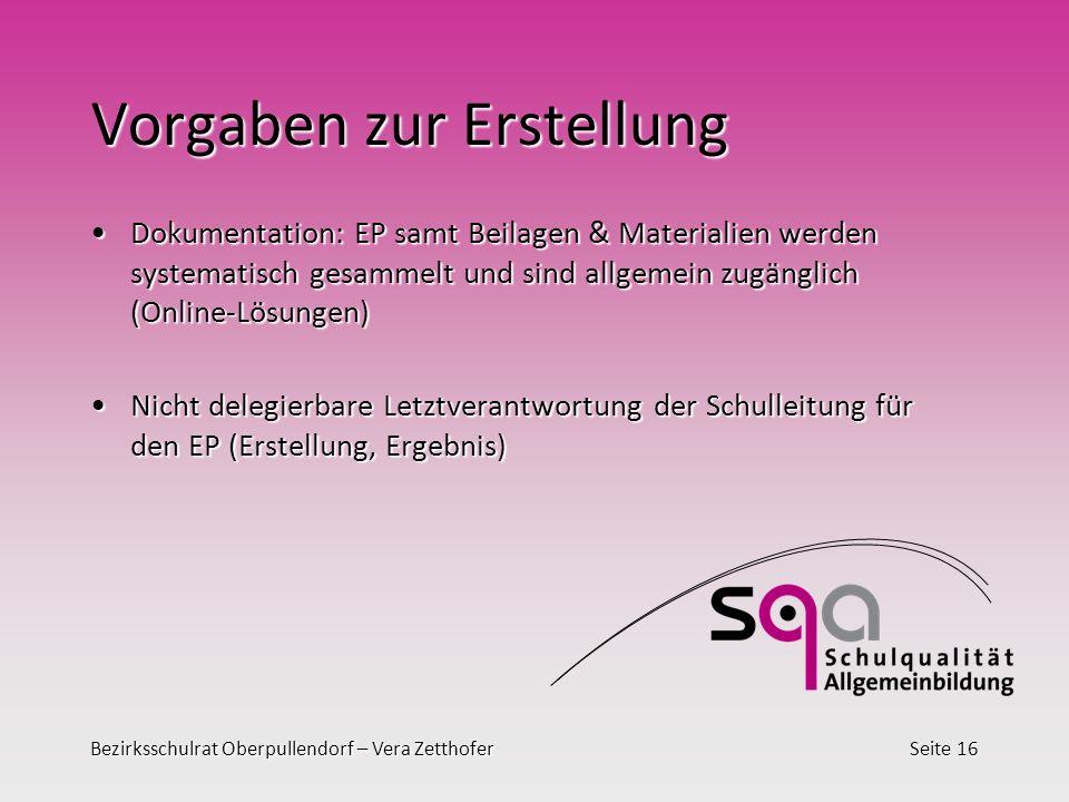 Bezirksschulrat Oberpullendorf – Vera ZetthoferSeite 16 Vorgaben zur Erstellung Dokumentation: EP samt Beilagen & Materialien werden systematisch gesa
