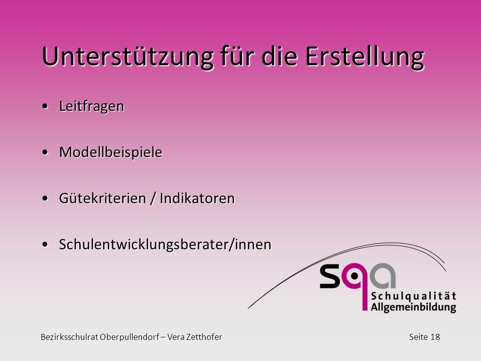 Bezirksschulrat Oberpullendorf – Vera ZetthoferSeite 18 Unterstützung für die Erstellung LeitfragenLeitfragen ModellbeispieleModellbeispiele Gütekrite