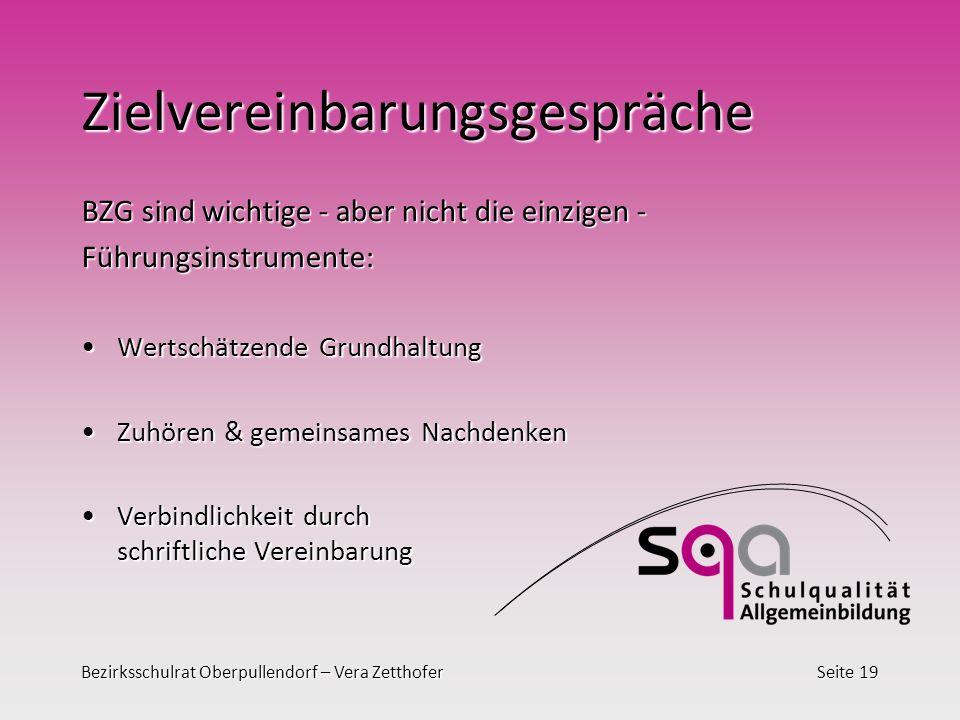 Bezirksschulrat Oberpullendorf – Vera ZetthoferSeite 19 Zielvereinbarungsgespräche BZG sind wichtige - aber nicht die einzigen - Führungsinstrumente:
