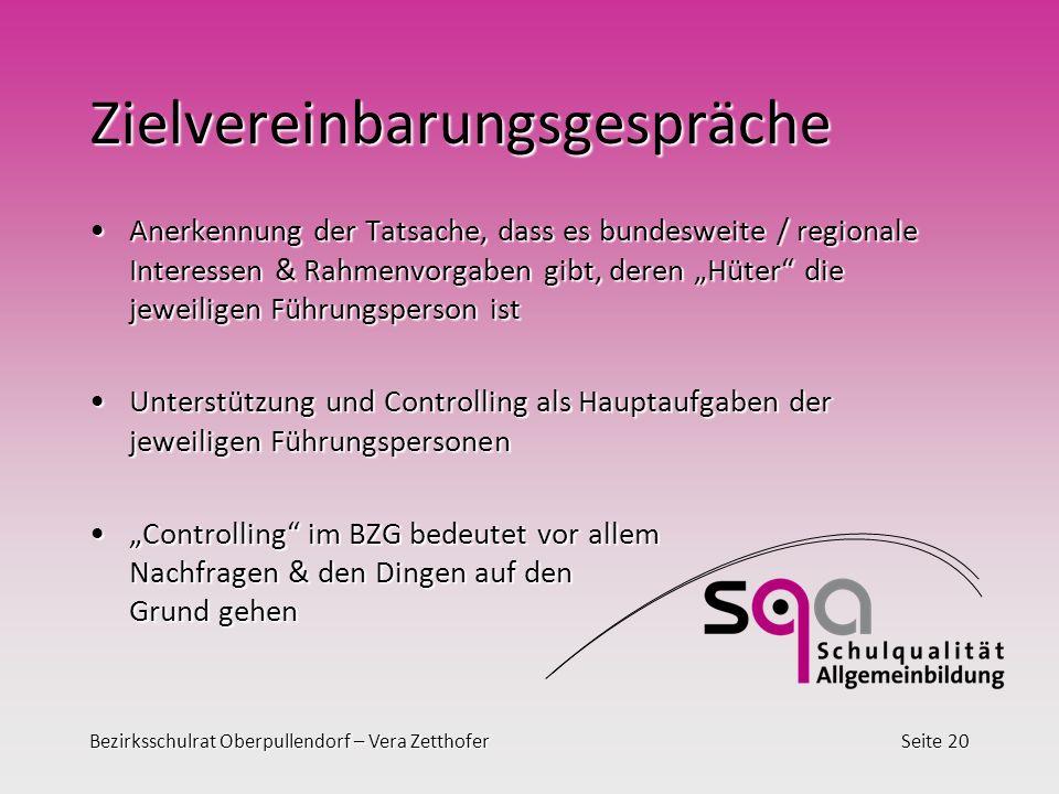 Bezirksschulrat Oberpullendorf – Vera ZetthoferSeite 20 Zielvereinbarungsgespräche Anerkennung der Tatsache, dass es bundesweite / regionale Interesse