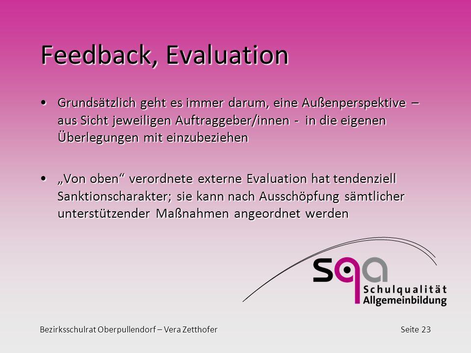 Bezirksschulrat Oberpullendorf – Vera ZetthoferSeite 23 Feedback, Evaluation Grundsätzlich geht es immer darum, eine Außenperspektive – aus Sicht jewe