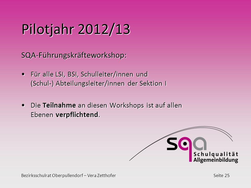 Bezirksschulrat Oberpullendorf – Vera ZetthoferSeite 25 Pilotjahr 2012/13 SQA-Führungskräfteworkshop: Für alle LSI, BSI, Schulleiter/innen und (Schul-
