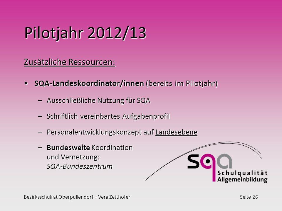 Bezirksschulrat Oberpullendorf – Vera ZetthoferSeite 26 Pilotjahr 2012/13 Zusätzliche Ressourcen: SQA-Landeskoordinator/innen (bereits im Pilotjahr)SQ