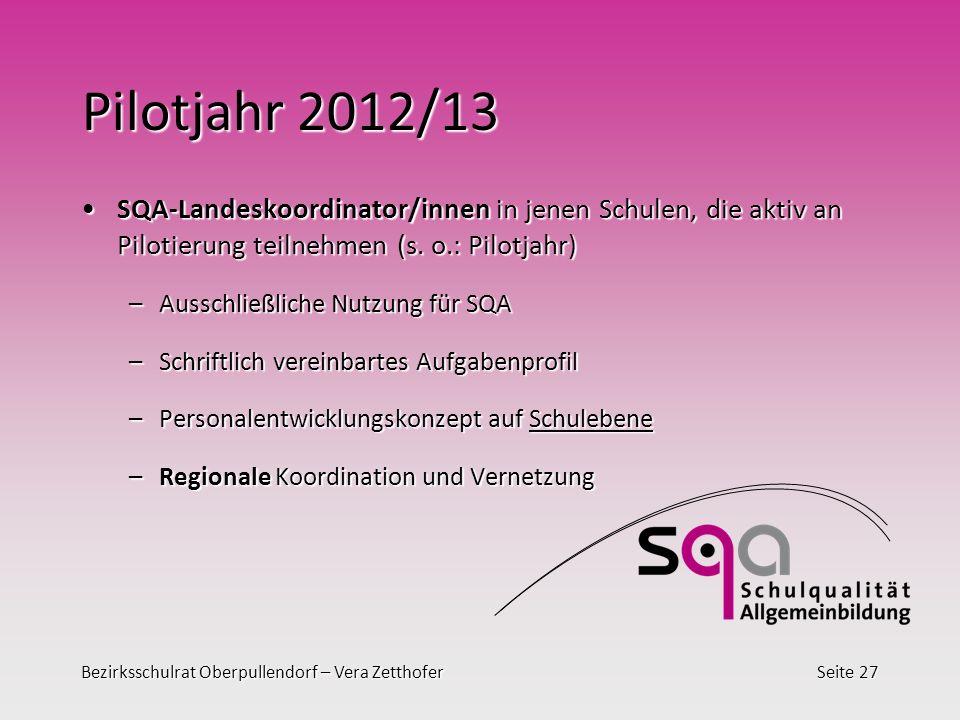 Bezirksschulrat Oberpullendorf – Vera ZetthoferSeite 27 Pilotjahr 2012/13 SQA-Landeskoordinator/innen in jenen Schulen, die aktiv an Pilotierung teilnehmen (s.