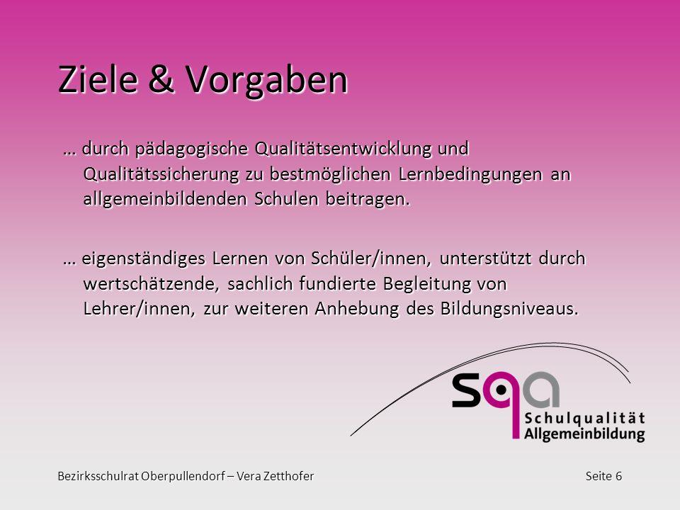 Bezirksschulrat Oberpullendorf – Vera ZetthoferSeite 6 Ziele & Vorgaben … durch pädagogische Qualitätsentwicklung und Qualitätssicherung zu bestmöglichen Lernbedingungen an allgemeinbildenden Schulen beitragen.