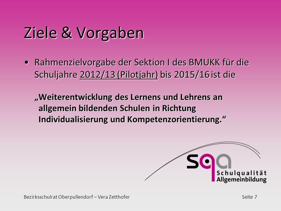 Bezirksschulrat Oberpullendorf – Vera ZetthoferSeite 7 Ziele & Vorgaben Rahmenzielvorgabe der Sektion I des BMUKK für die Schuljahre 2012/13 (Pilotjah